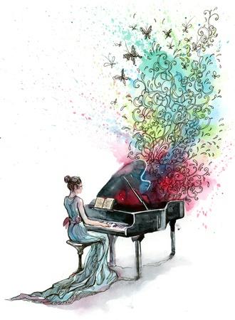 鋼琴: 三角鋼琴音樂(C系列) 版權商用圖片