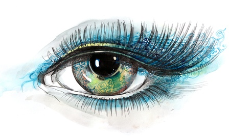 side viewing: decorated human eye (series C) Stock Photo