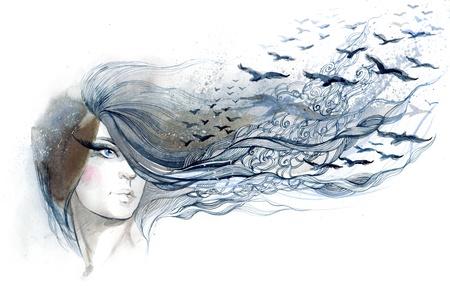 femme dessin: belle femme avec des oiseaux dans les cheveux (s�rie C) Banque d'images