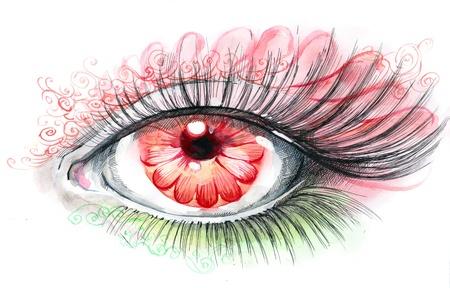 woman eyeball: human eye with flower (series C) Stock Photo