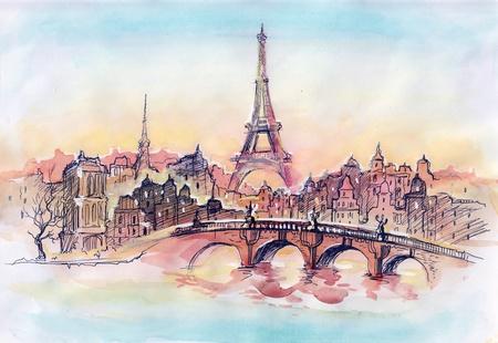 peaceful scene: sunset in Paris (series C)