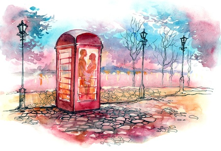 loving couple in the call box (series C) photo