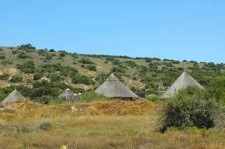 Huts in a cultural village in the Shamwari game reserve in South Africa