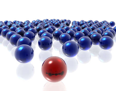 blue and red spheres on the white background Stock Photo