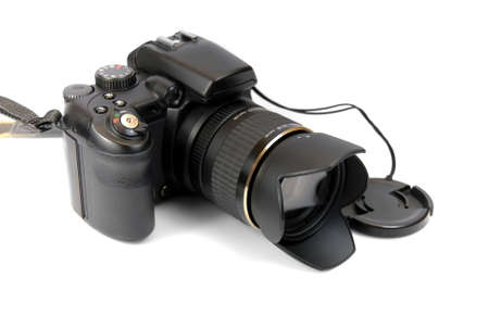 modern profesionalny camera SLR on the white background  photo