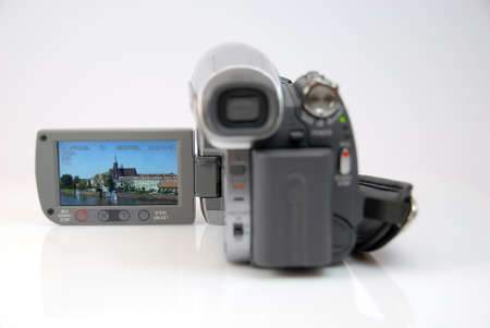 the silver modern camera of the video  Stock Photo