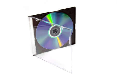 plate of the CD DVD in the box slim on the white background