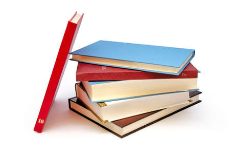 many books on the white background Stock Photo