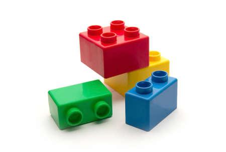 juguetes de madera: color infantil bloques para la construcci�n  Foto de archivo