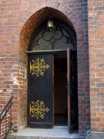 The closed arched doorway of a Church