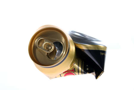 Blasted canister after beer for recycling Stock Photo