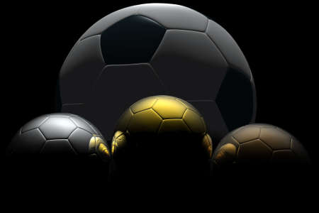 bronz: Soccer ball isolated on black background. Photorealistic 3D rendering. Stock Photo