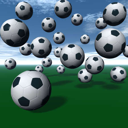 premiership: Soccer balls on green 3D rendering.