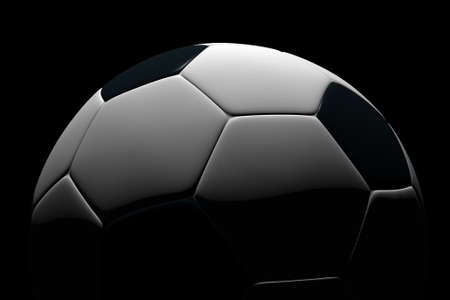 Soccer ball isolated on black background. Photorealistic 3D rendering. Stock Photo