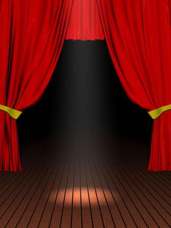 Rendering 3D rode velvet theater courtains en houten woord