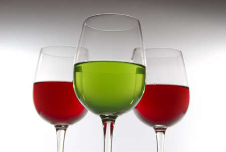 Color drinks in glasses photo