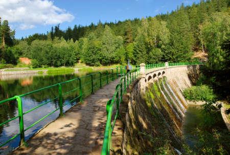 Concrete dam, river Lomnica, Karpacz, Poland Stock Photo