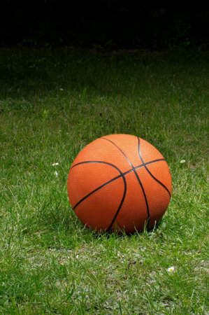 The orange ball to the basket-ball lies on the grass Stock Photo