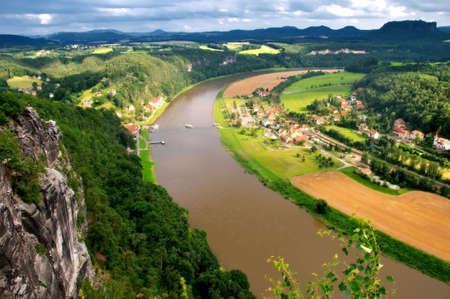 Meandering river, Elbe river; Germany