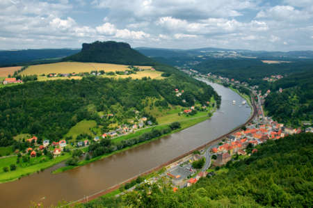highlands region: Meandering river, Elbe river; Germany