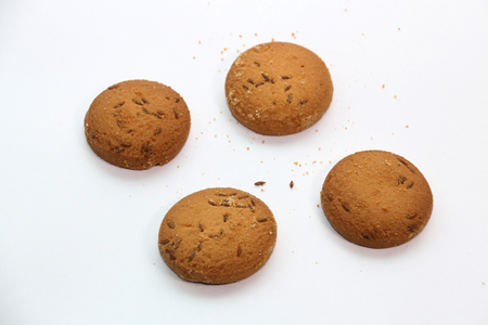 Cumin cookies isolated on a white background