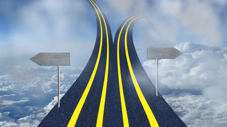 road divided into two and one goes upward to sky and another to ground with copy space conceptual image