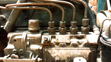 closeup shot of old electricity generator for industrial purposes