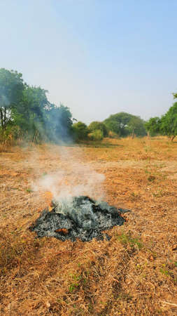 air pollution due to burning agriculture waste in fields