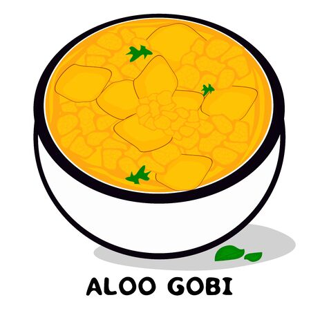 Aloo gobi indian Punjabi food Vector Illustration