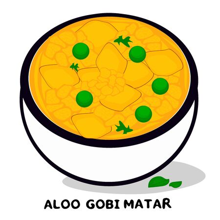 Aloo gobi matar indian Punjabi food Vector Illustration
