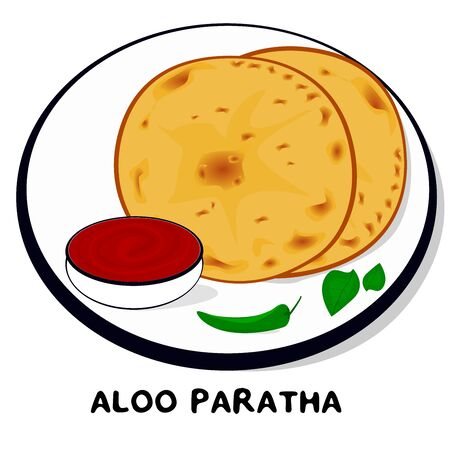 Aloo Paratha indian Punjabi food Vector