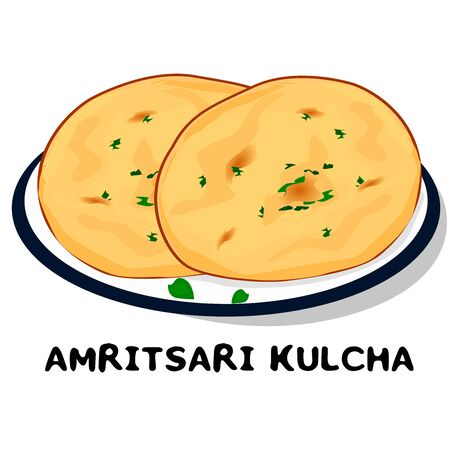 Amritsari Kulcha indian Punjabi food Vector