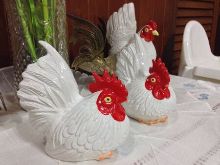 bantam hen: Ceramic roosters Stock Photo