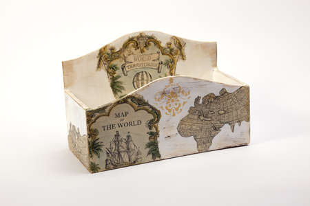 holders: wooden napkin holders, candy boxes decoration with handmade maps of the world