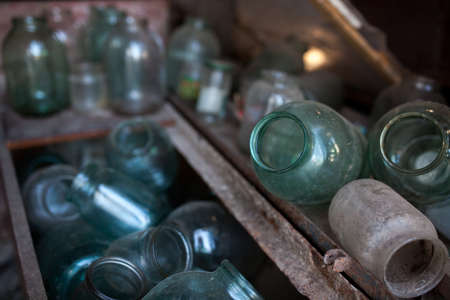 box size: glass jars in iron boxes in the shed