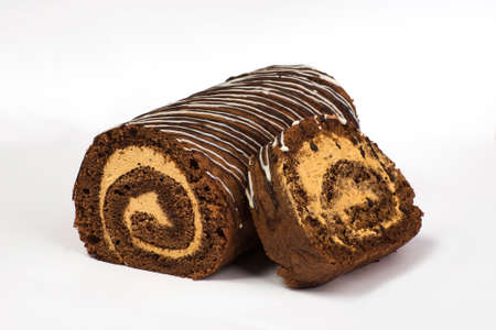 biscuits: Chocolate biscuit roll with cream with chocolate