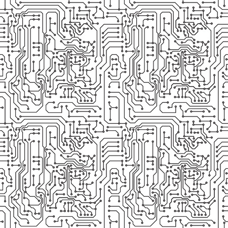 electronic circuit: Vector abstract seamless background electronic circuit board Illustration