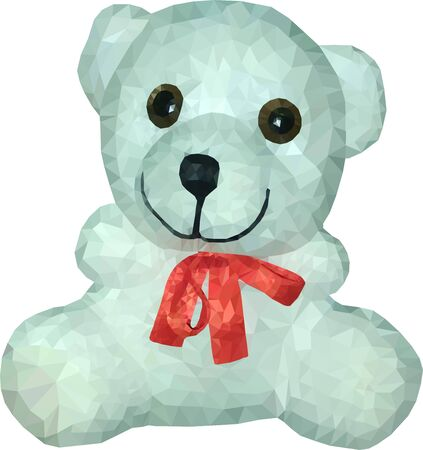 White Teddy bear with a red bow on a white background