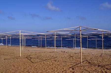 sunshades: Sea beach with sunshades