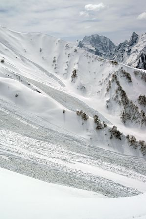 avalanche: Mountainside after avalanche.