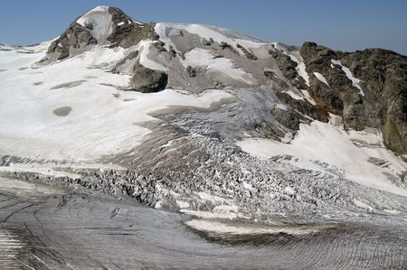 highly: Mountain glacier. Caucasus Mountains. Digoriya