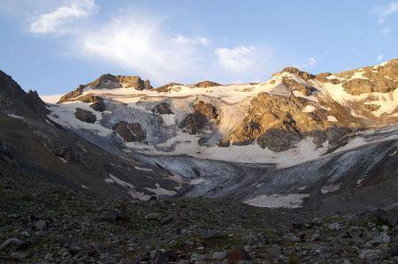crack climbing: Mountain glacier. Caucasus Mountains. Digoriya