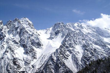 cusp: High Mountains. Caucasus. Tsey. Stock Photo