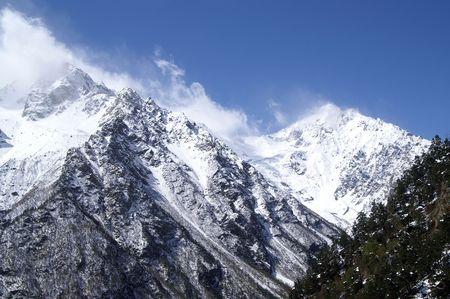 mountainside: High Mountains. Caucasus. Tsey. Stock Photo