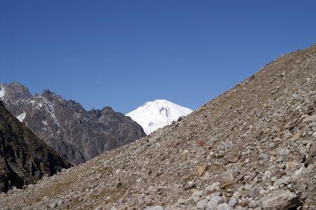 mountainside: Caucasus Mountains. View of Elbrus Stock Photo