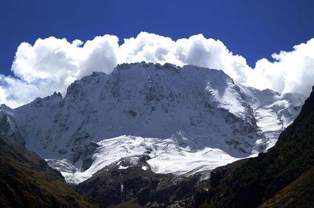 rockslide: Mountains. Elbrus region. Gorge Adyr-Su. Ulutau.