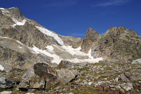 rockslide: Mountain glacier. Caucasus Mountains. Digoriya