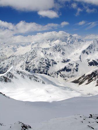 Caucasus Mountains. Gorge Irik Chat. Snowy plateau photo