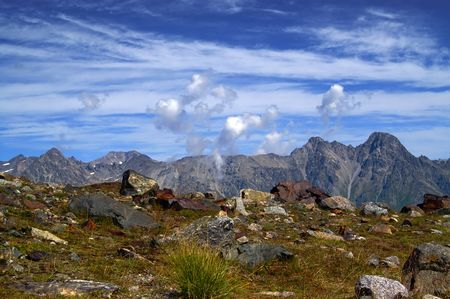 rockslide: Mountains and clouds