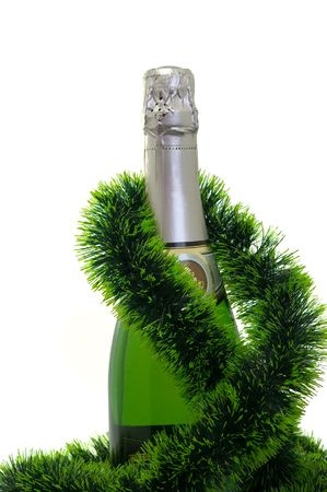Champagne bottle isolated on a white background photo